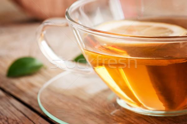 ストックフォト: カップ · オーガニック · レモン · フルーツ · 茶碗 · 茶