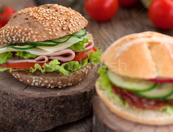сэндвич ветчиной сыра салями овощей Сток-фото © mythja