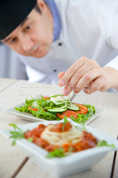 мужчины повар ресторан кухне пасты блюдо Сток-фото © mythja