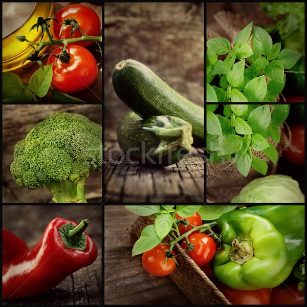 Stock foto: Weihnachten · Abendessen · Collage · Bio-Lebensmittel · frischem · Gemüse · natürlichen