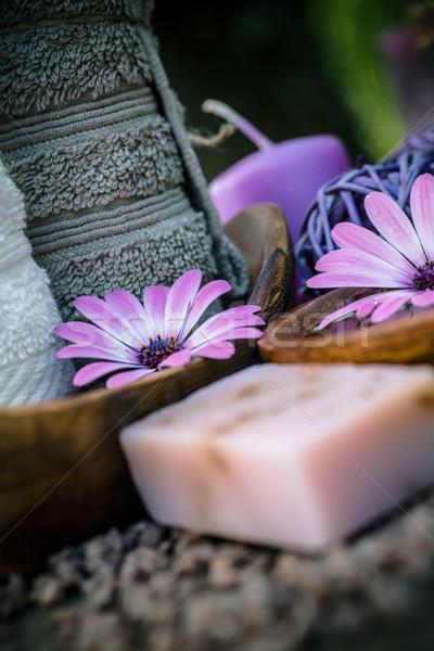 Stock fotó: Ibolya · természet · szett · fürdő · wellness · természetes