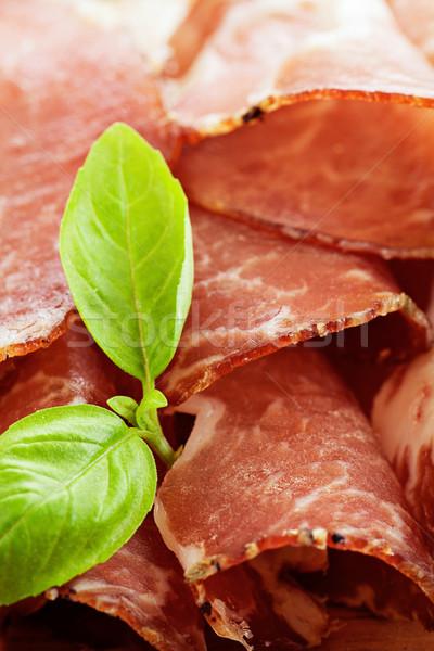 Gedroogd varkensvlees salami ham kruiden hout Stockfoto © mythja