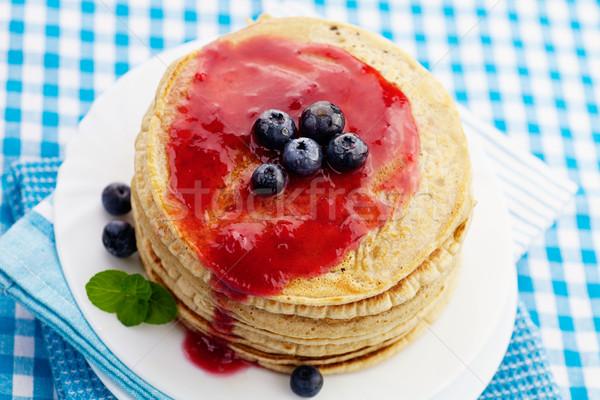 Foto stock: Atasco · desayuno · alimentos · arándanos · madera