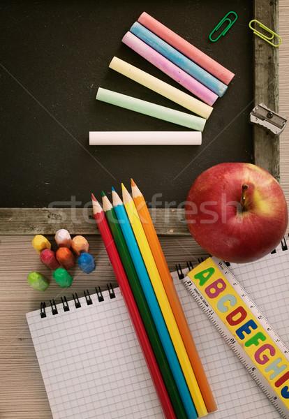 Student school objecten studenten schoolbord Stockfoto © mythja