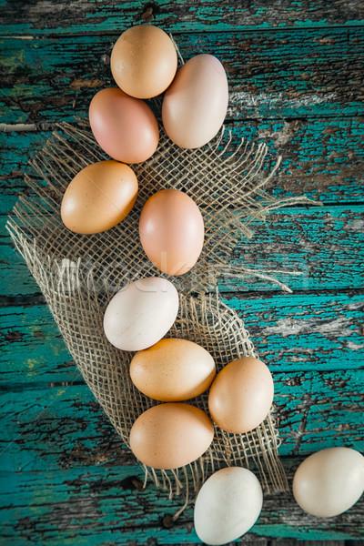卵 木材 オーガニック 新鮮な プレート 朝食 ストックフォト © mythja