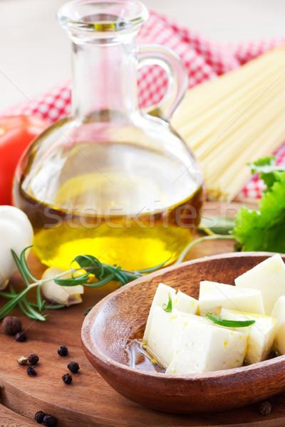 フェタチーズ オリーブオイル ローズマリー 食品 木材 緑 ストックフォト © mythja
