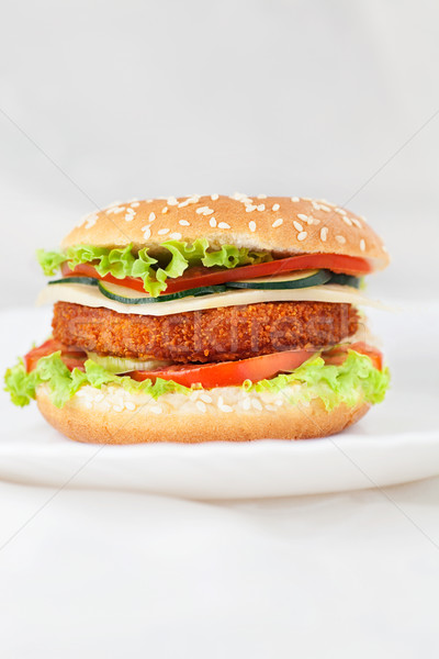 Foto stock: Frango · assado · peixe · burger · sanduíche · profundo