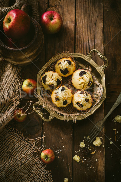 Chocolade chips amandel muffins ontbijt vanille Stockfoto © mythja