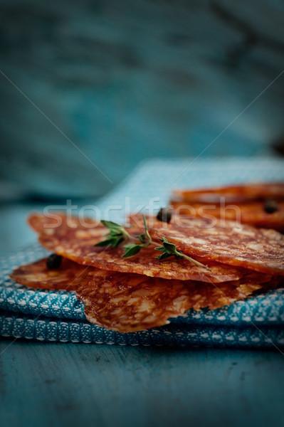 Salame chorizo salsicha azul rústico carne Foto stock © mythja