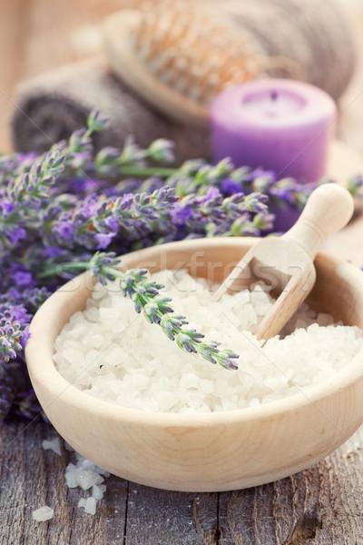 Spa lawendy ręcznik naturalnych mydło charakter Zdjęcia stock © mythja