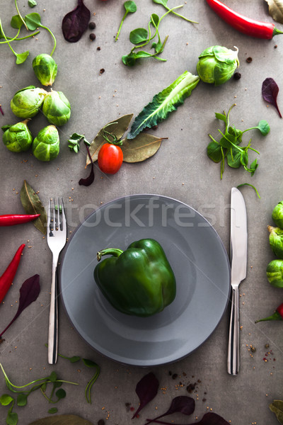 Plate with vegetables Stock photo © mythja