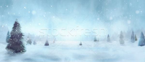 Kış ağaçlar Noel kar çam dizayn Stok fotoğraf © mythja