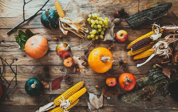 Autumn fruit on wood. Thanksgiving decoration Stock photo © mythja