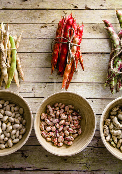 Collection of beans. Freshly harvested beans variety. Stock photo © mythja