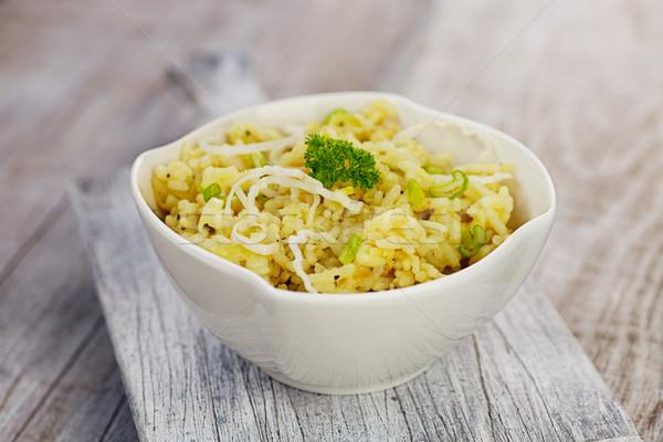 Alho-porro risotto comida vegetariana enfeite garfo pimenta Foto stock © mythja