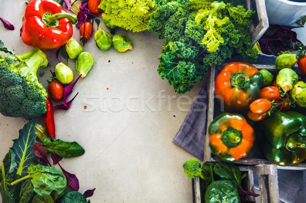 Friss zöldségek keret étel elrendezés zöldségek választék Stock fotó © mythja