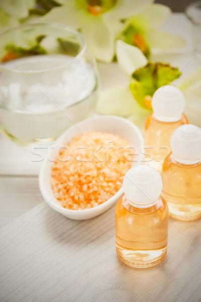 Fürdő szépségipari termékek sampon fürdősó test levél Stock fotó © mythja