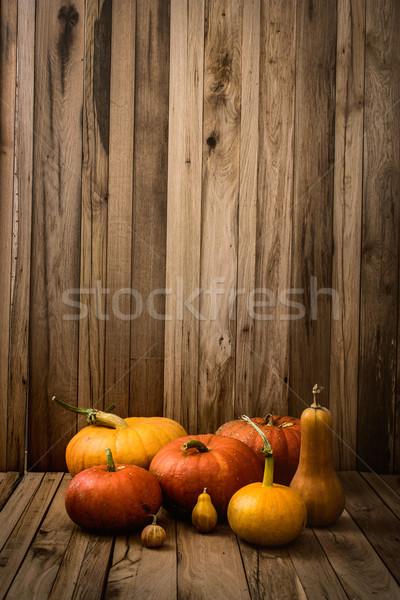 Tökök választék hálaadás régi fa ősz gyümölcs Stock fotó © mythja