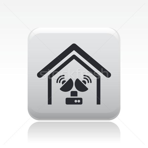 Antena ícone televisão casa satélite conceito Foto stock © Myvector