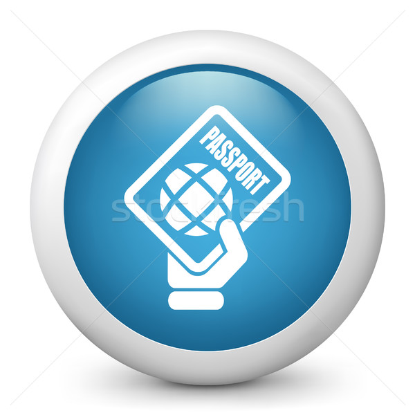 Foto stock: Azul · icono · mano · diseno · tarjeta