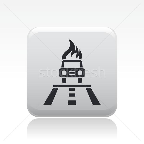 Autó égő ikon utca motor baleset Stock fotó © Myvector