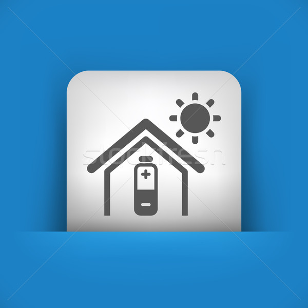 Kék szürke ikon nap fény otthon Stock fotó © Myvector