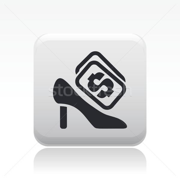 Buty kosztować ikona rynku sklepu kobiet Zdjęcia stock © Myvector