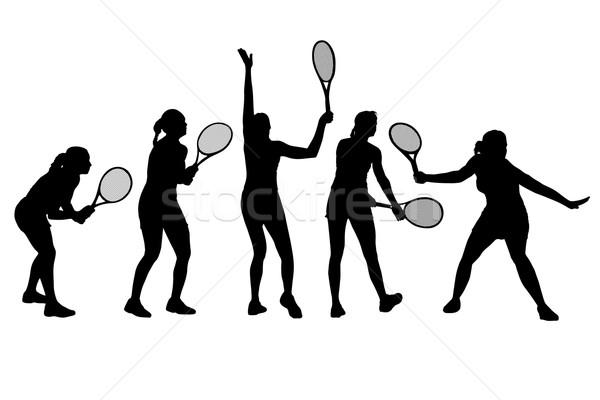 Tennis player icon set Stock photo © Myvector