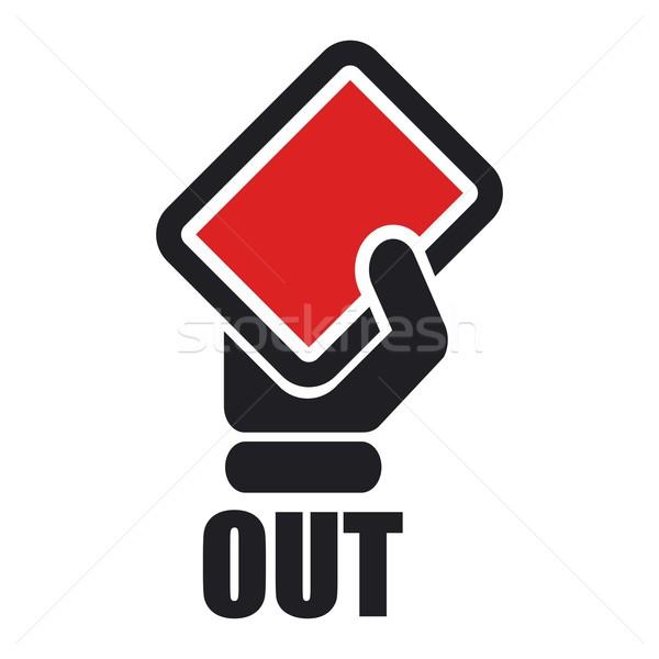 Fora vermelho ícone mão quadro mostrar Foto stock © Myvector