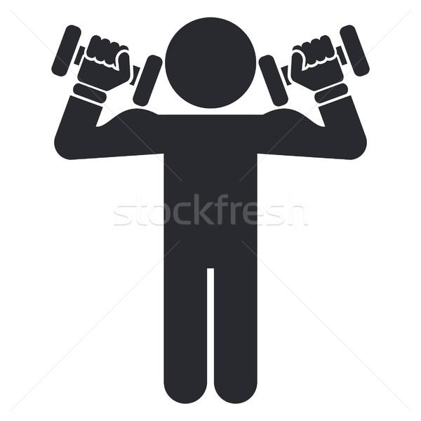 спортзал икона спорт фитнес силуэта подготовки Сток-фото © Myvector
