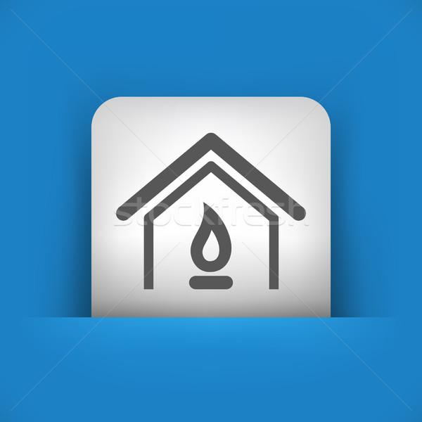 Blauw grijs icon brand vlam appartement Stockfoto © Myvector