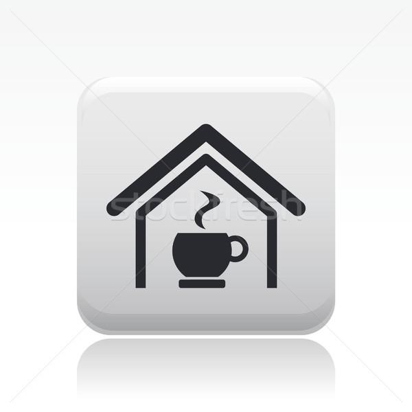 кофе икона дома домой завтрак Сток-фото © Myvector
