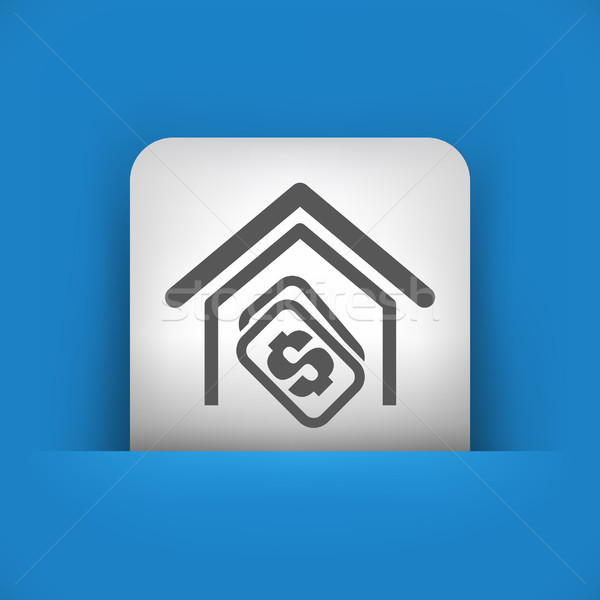синий серый икона дома недвижимости продажи Сток-фото © Myvector