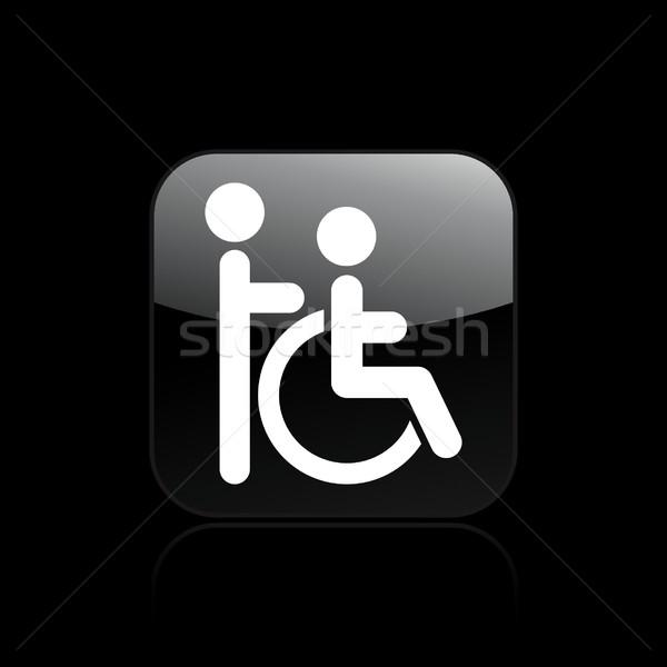 гандикапа икона дома коляске социальной инвалидов Сток-фото © Myvector