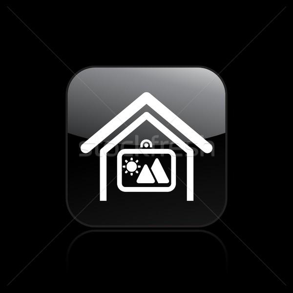 Ev kare ikon dizayn mobilya iç Stok fotoğraf © Myvector