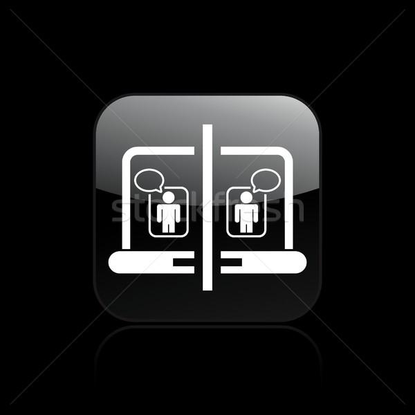 Sohbet ikon bilgisayar fare ağ konuşmak Stok fotoğraf © Myvector