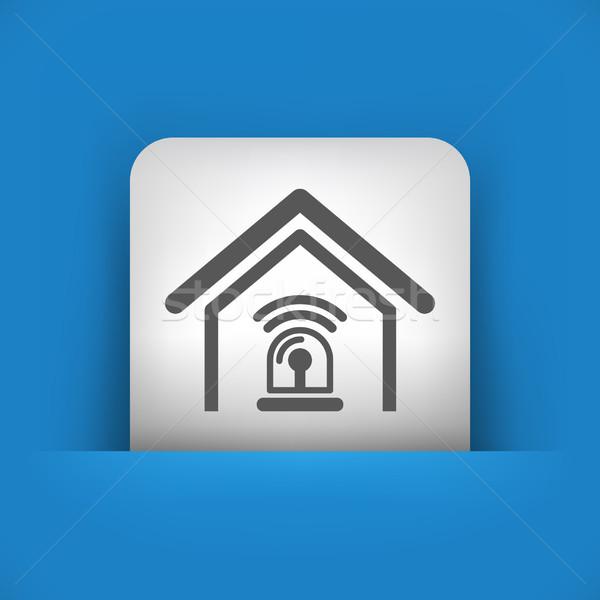 Blau grau Symbol home Stock foto © Myvector