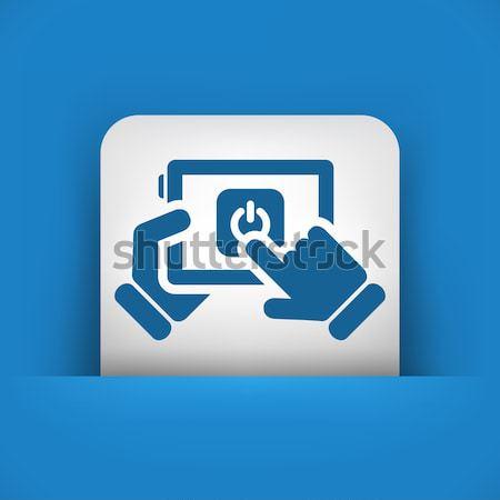 синий серый икона ноутбука Сток-фото © Myvector