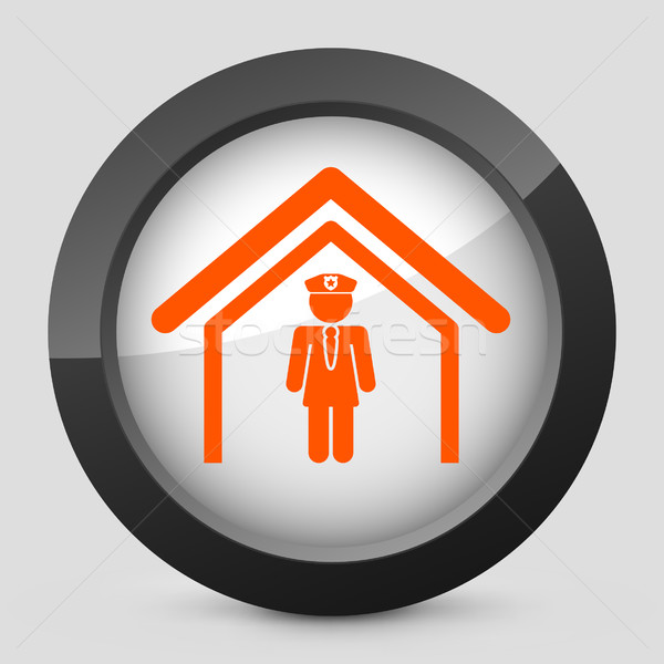 Eleganten orange glänzend Symbol Sicherheit Stock foto © Myvector
