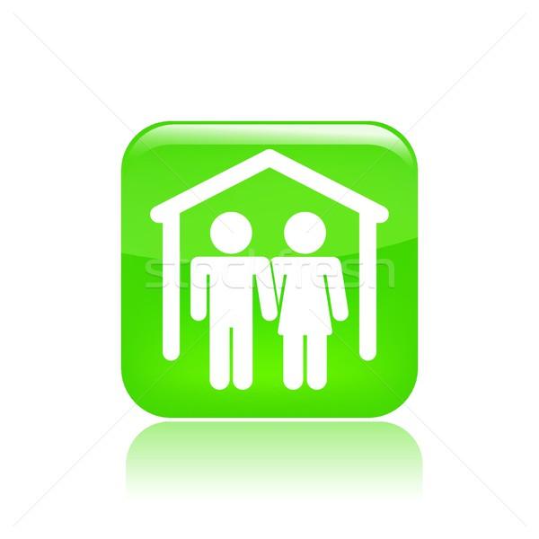 Lovers ikona domu domu para dachu Zdjęcia stock © Myvector