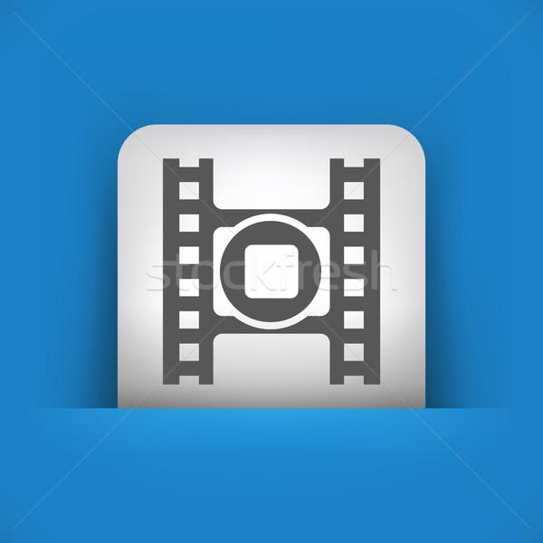 Kék szürke ikon film Stock fotó © Myvector