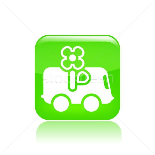 Virág házhozszállítás ikon teherautó Stock fotó © Myvector