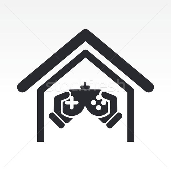 Icône maison jouer jeu jouer Photo stock © Myvector