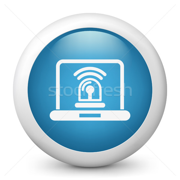Stock photo: Blue glossy icon