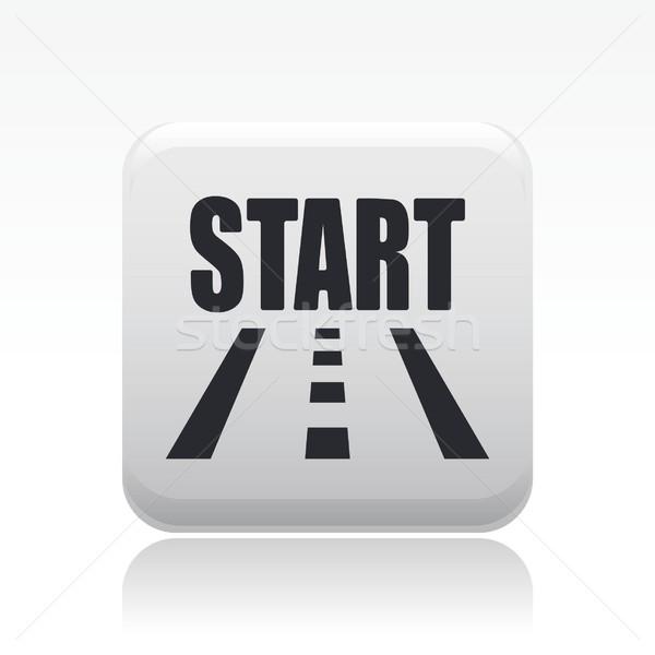 Kezdet út ikon utca Stock fotó © Myvector