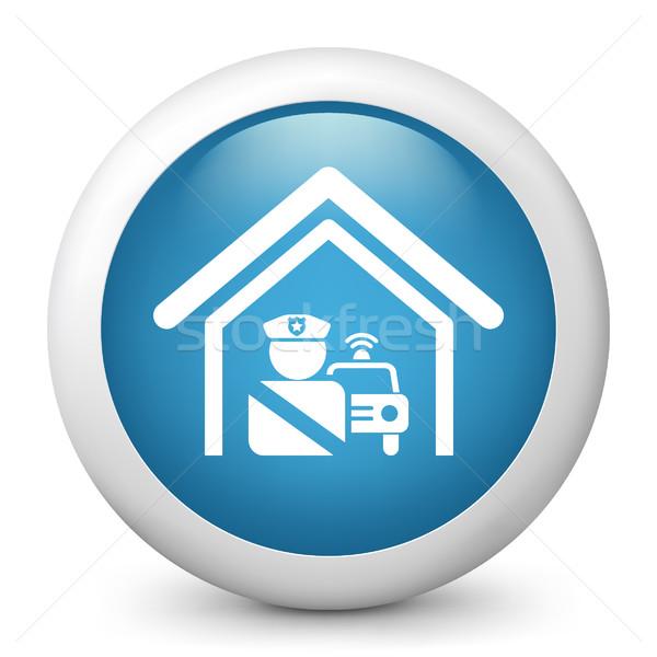 Blau glänzend Symbol Sicherheit militärischen Stock foto © Myvector