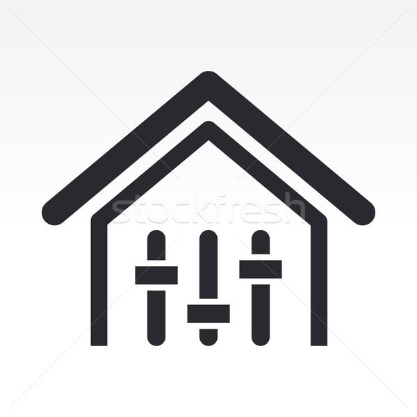 Mixeur maison icône musique maison réseau Photo stock © Myvector