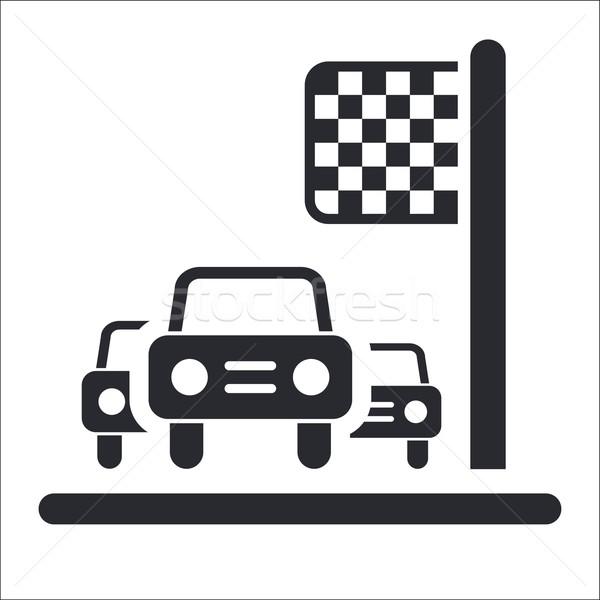 Yarış arabası varış ikon fincan zafer Stok fotoğraf © Myvector