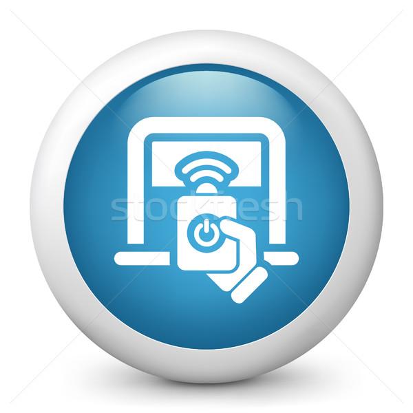 Niebieski ikona grać przycisk stop Zdjęcia stock © Myvector