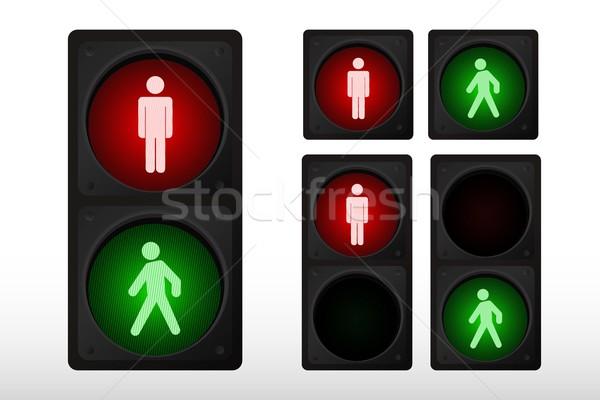 Trafik ışığı ikon yol sokak yürüyüş kırmızı Stok fotoğraf © Myvector